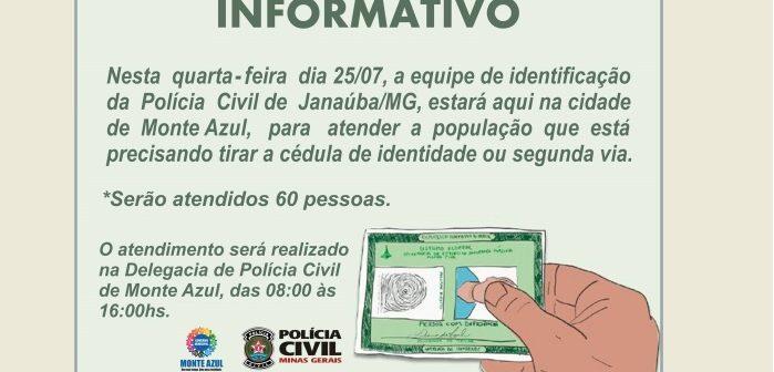 Informativo – Carteira de Identidade em Monte Azul 2018